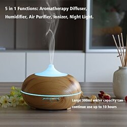 Aromatherapy Essential Oil Diffuser, 300ml Wood with Color LED Lights Changing