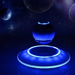 LED Portable Wireless Bluetooth Floating Levitation Speaker 360 Degree Rotating-White