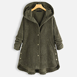Plus Size Corduroy Hooded Coat in 3 Colors