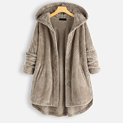 Double Plush Hood Coat in 5 Colors,S-5X