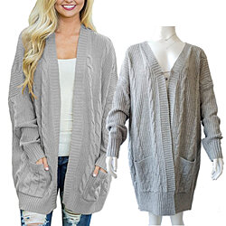 Open Knit Cardigan with Large Pockets