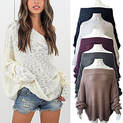 Plus Size Off Shoulder Batwing Sweater