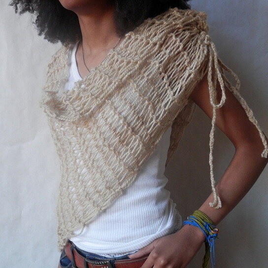 Ruched Cowl Knitting Pattern : Buy Vegan Asymmetrical Ruched Hand Knit Cowl/Scarf In Soft Wheat by Maya...