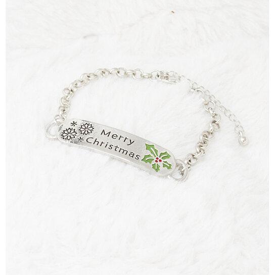 buy set of 14k white gold plated bracelet engraved merry