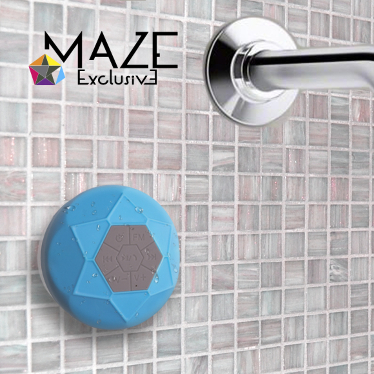 Maze Exclusive Ipx7 Waterproof Bluetooth Shower Speaker With Built in FM Radio - 2 Colors - Black 568add706f3d6f11148b4754