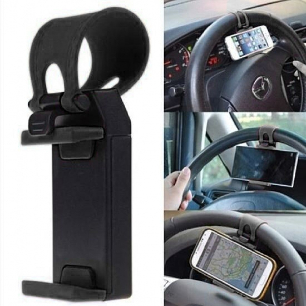 Revised Pricing Universal Car Steering Wheel Phone Mount Holder 4 Colors Black