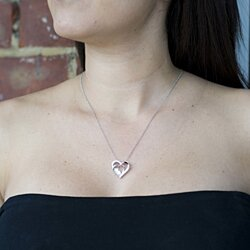 Sterling Silver Beat of your Heart double pendant
