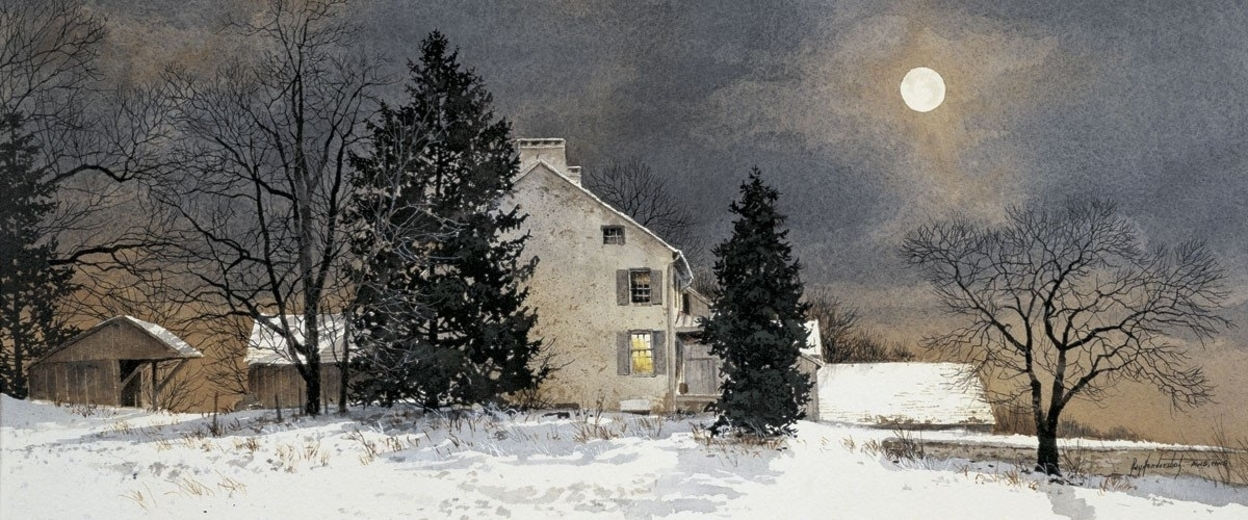 A Cold Night by Ray Hendershot - 5x12.5 image on 11x14 Paper 58b5b921c98fc462ed6a7614