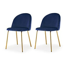 M60 Dining Chair, Gold Finish, Set Of Two