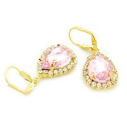 18k Gold Filled Pink Crystal Tear Drop Hanging Earrings