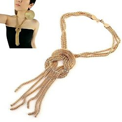 Gold Plated Tassel Crossover Snake Chain Necklace