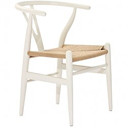 CH24 Wishbone Y Chair - White / Natural