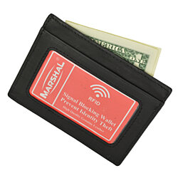 RFID Wallet Mens Slim Leather RFID Blocking Front Pocket Wallet Thin Card Holder RFID P 370 (C)