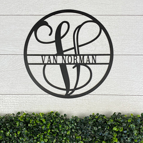Circle Vine Monogram and Family Name Metal Wall Art