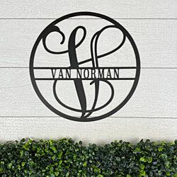 "Circle Vine Monogram and Family Name - 14.5"" or 18.5"""