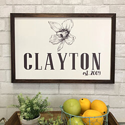 Family Name Framed Flower Print