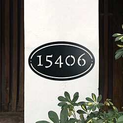 Oval Address Metal Sign