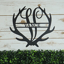 Personalized Family Name Antler Monogram  Metal Sign