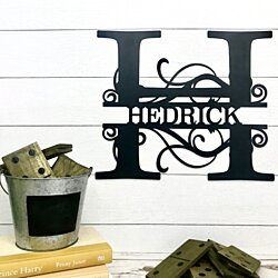 Split Letter Monogram Metal Sign