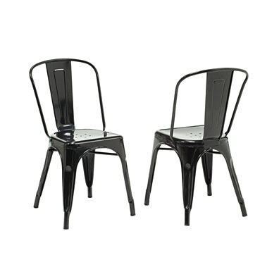 "Black Glossy Metal 33""H Cafe Chair (Set of 2)"