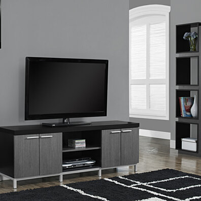 "Black/Grey Hollow-Core 60""L TV Console"