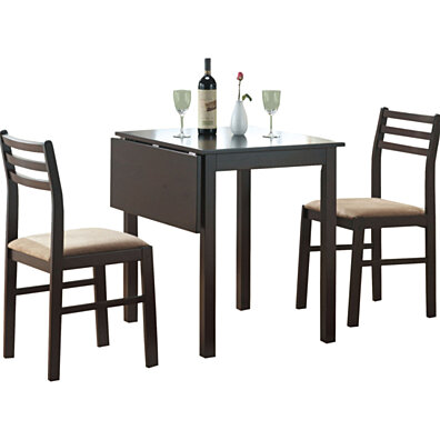 Cappuccino 3 Piece Solid-Top Drop Leaf Dining Set