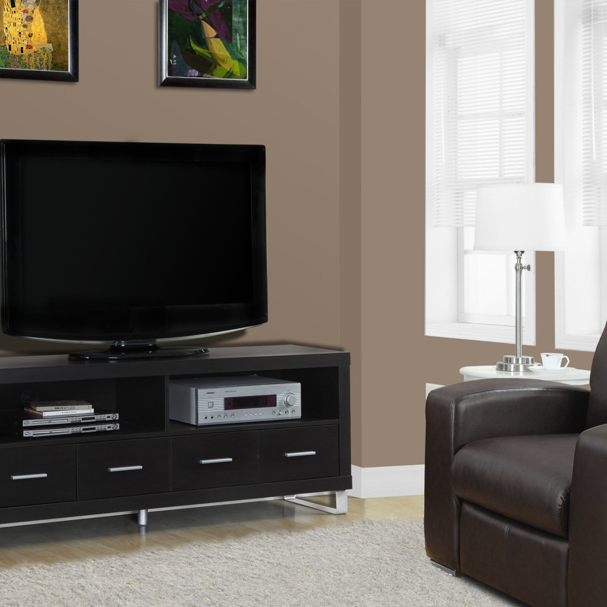 "Cappuccino Hollow-Core 60""l TV Console with 4 Drawers 559c236f7aaaaa89188b45da"