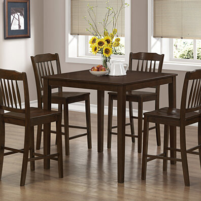 Cappuccino Veneer 5 Piece Counter Height Dining Set