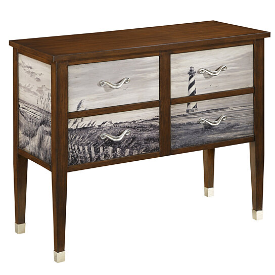 Buy Coastal Handpainted Brown Four Drawer Console By