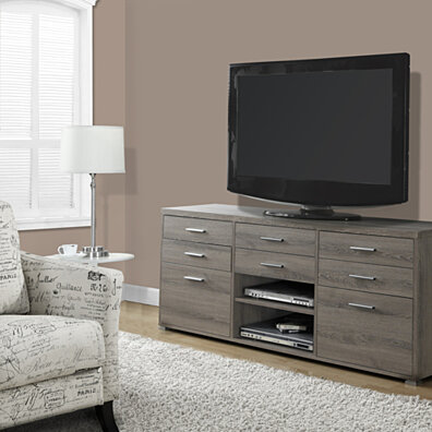 "Dark Taupe Reclaimed-Look 60""L TV Console with 8 Drawers"
