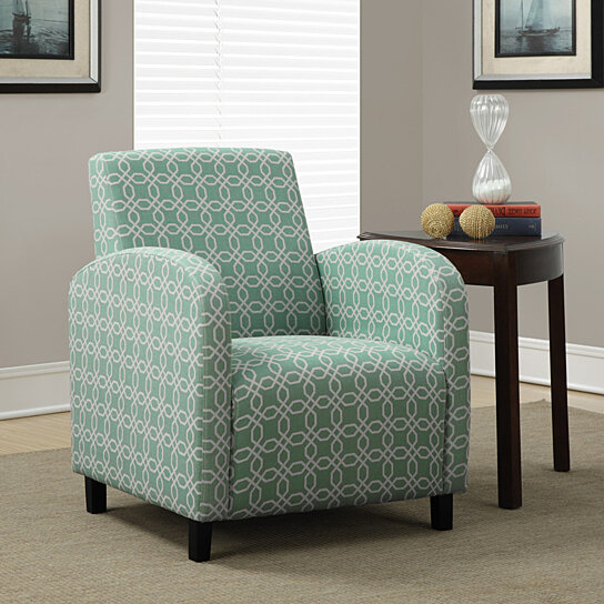 """Green Accent Chair With Recliner: Buy Faded Green """"Angled Kaleidoscope"""" Fabric Accent Chair"""
