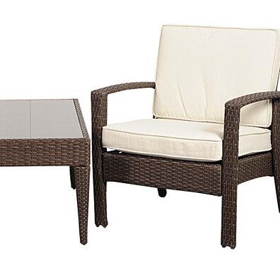 Florida Deluxe Brown Wicker Patio Conversation Set with Off-White Cushions - (Set of 3)