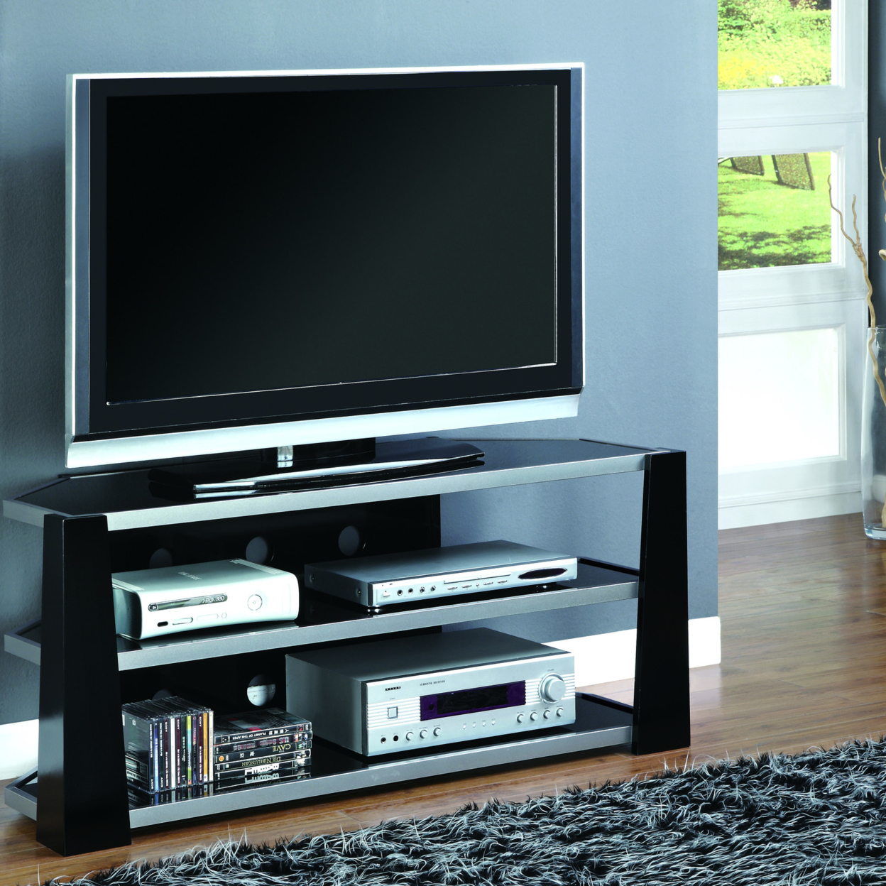 """Glossy Black/Silver Metal 48\""""l TV Console with Tempered Glass 559c26447aaaaaed188b502b"""