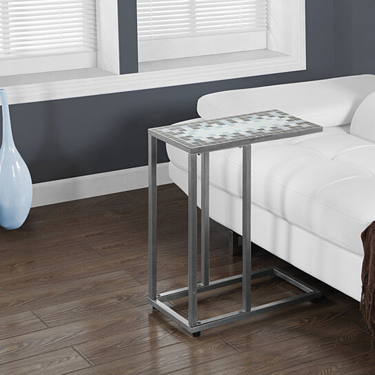 Buy Grey Blue Tile Top Hammered Silver Metal Accent Table By Michael Anthony Furniture On Opensky