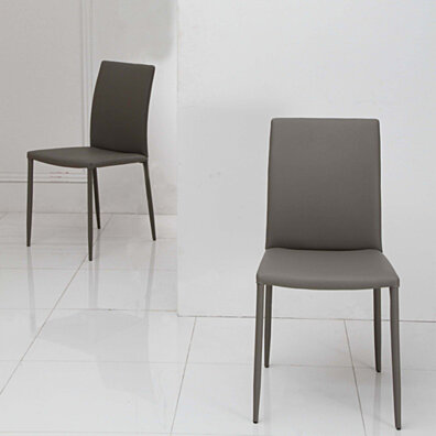 Grey Fully Covered Tapered Leg Side Chair