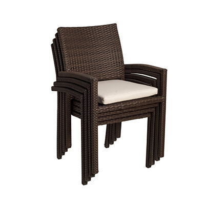Liberty Wicker Patio Armchairs with Off-White Cushions - (Set of 2)
