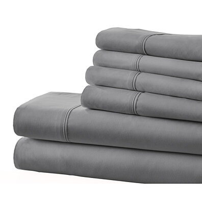 Michael Anthony 6 Pc Queen Sheet Set- Grey