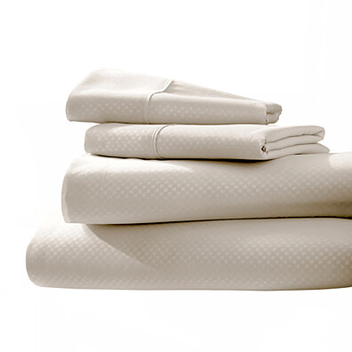 Michael Anthony Checkered 4 Pc Queen Sheet Set- Cream