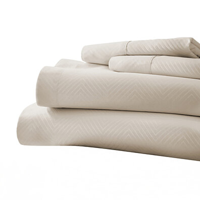 Michael Anthony Chevron 4 Pc King Sheet Set- Cream