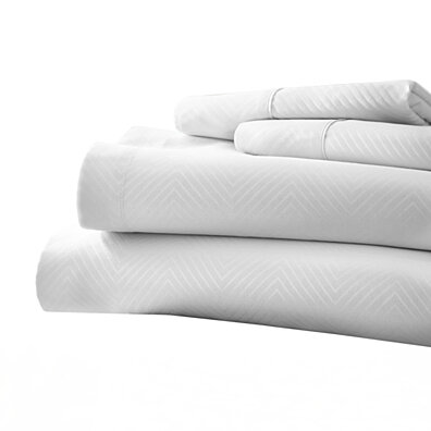 Michael Anthony Chevron 4 Pc Queen Sheet Set- White