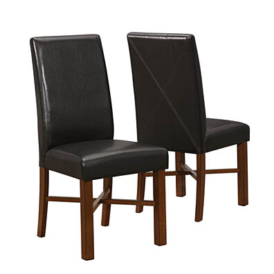 "Modern Oak/Brown Leather-Look 39""H Side Chair (Set of 2)"