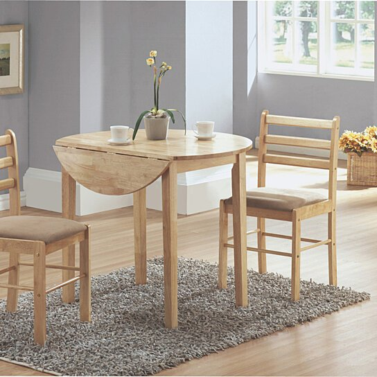 Buy Natural 3 Piece Dining Set With A 36 Round Drop Leaf Table By Micha