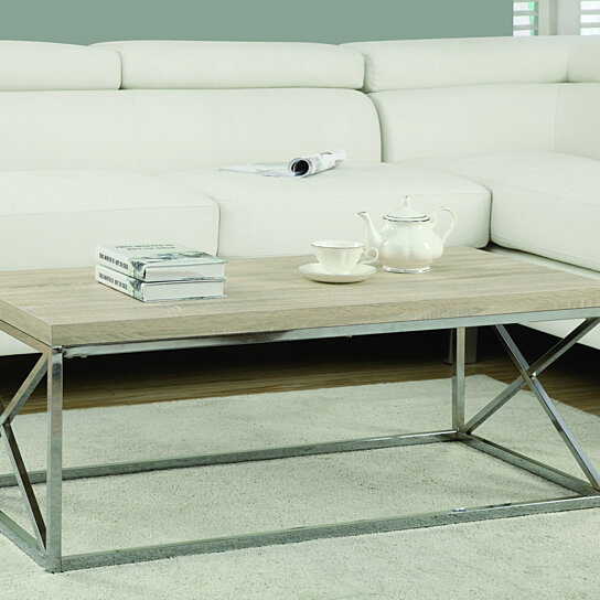 Buy Natural Reclaimed-Look/Chrome Metal Cocktail Table By