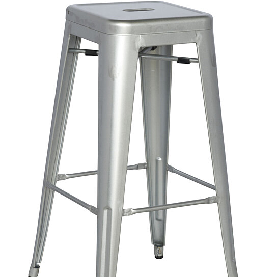 Buy silver galvanized steel bar stool set of 4 by for Cheap bar stools set of 4