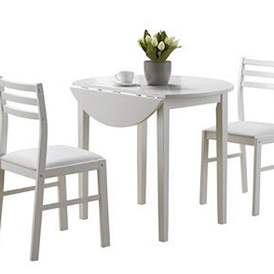 "White 3 Piece Dining Set with a 36"" Round Drop Leaf Table"