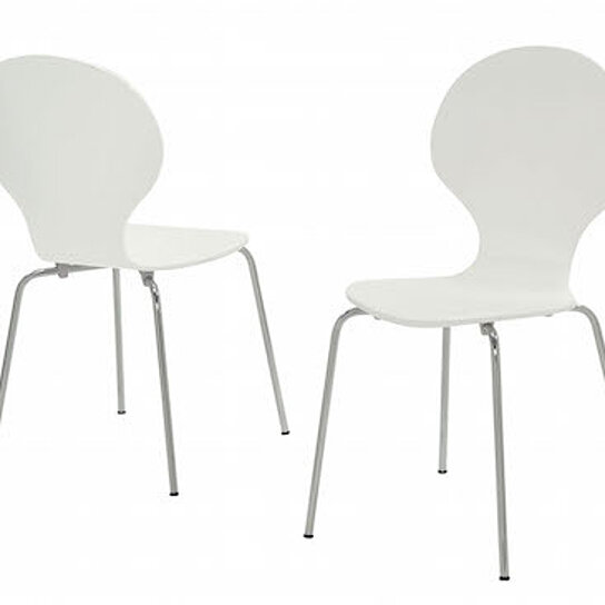 """Discount Dining Chairs Set Of 4: Buy White Bentwood/Chrome Metal 34""""H Dining Chairs (Set Of"""