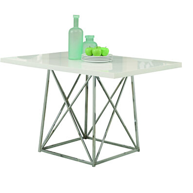 "White Glossy/Chrome Metal 36""X 48"" Dining Table"