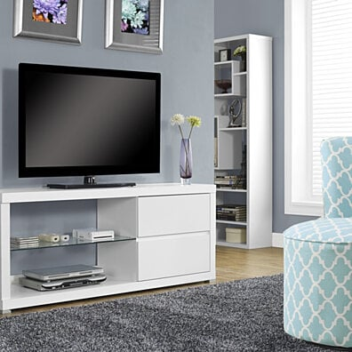 "White Hollow-Core 60""L TV Console with Tempered Glass"