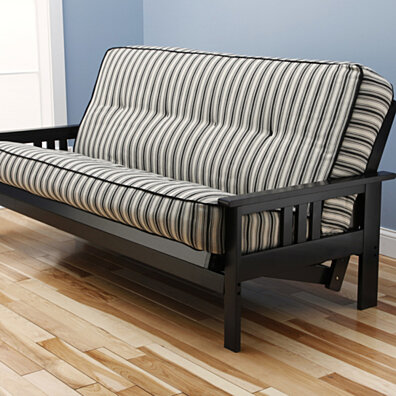 Woodbury Full Size Futon Sofa With Tufted Dynamic Fibers Innerspring Mattress, Black Painted Hardwood Frame, Navy Stripe