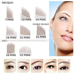 10Pcs 3D Eyebrow Tattoo Pen Permanent Makeup Needles Cartridges 7Pin/12Pin/14Pin/16Pin/21Pin Needles